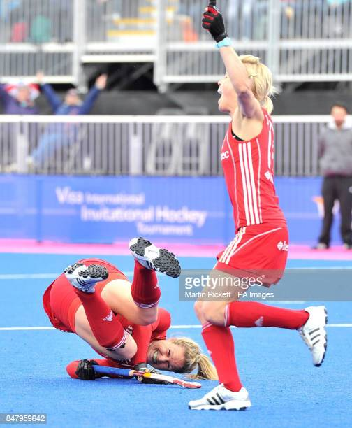 Great Britian's Crista Cullen celebrates scoring her teams second goal against Argentina during the Gold Medal match during the Visa International...