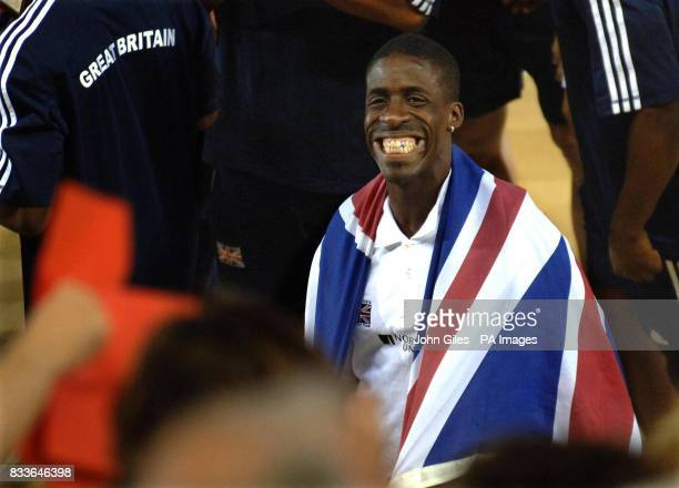 Great Britian's Dwain Chambers with members of the GB Mens Athletics Team wave to supporters after their third place finish in the Spar European Cup...