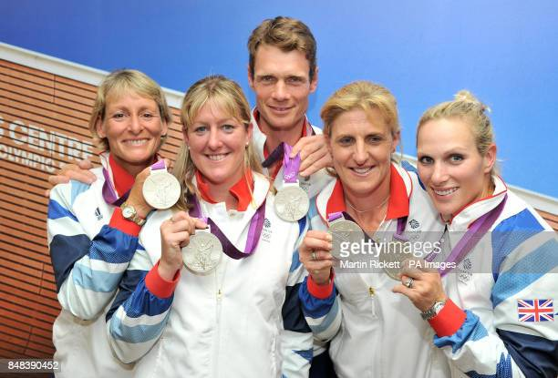 Great Britian's Mary King Nicola Wilson William FoxPitt Kristina Cook and Zara Phillips pose with their Silver Medals for the Team Eventing during a...