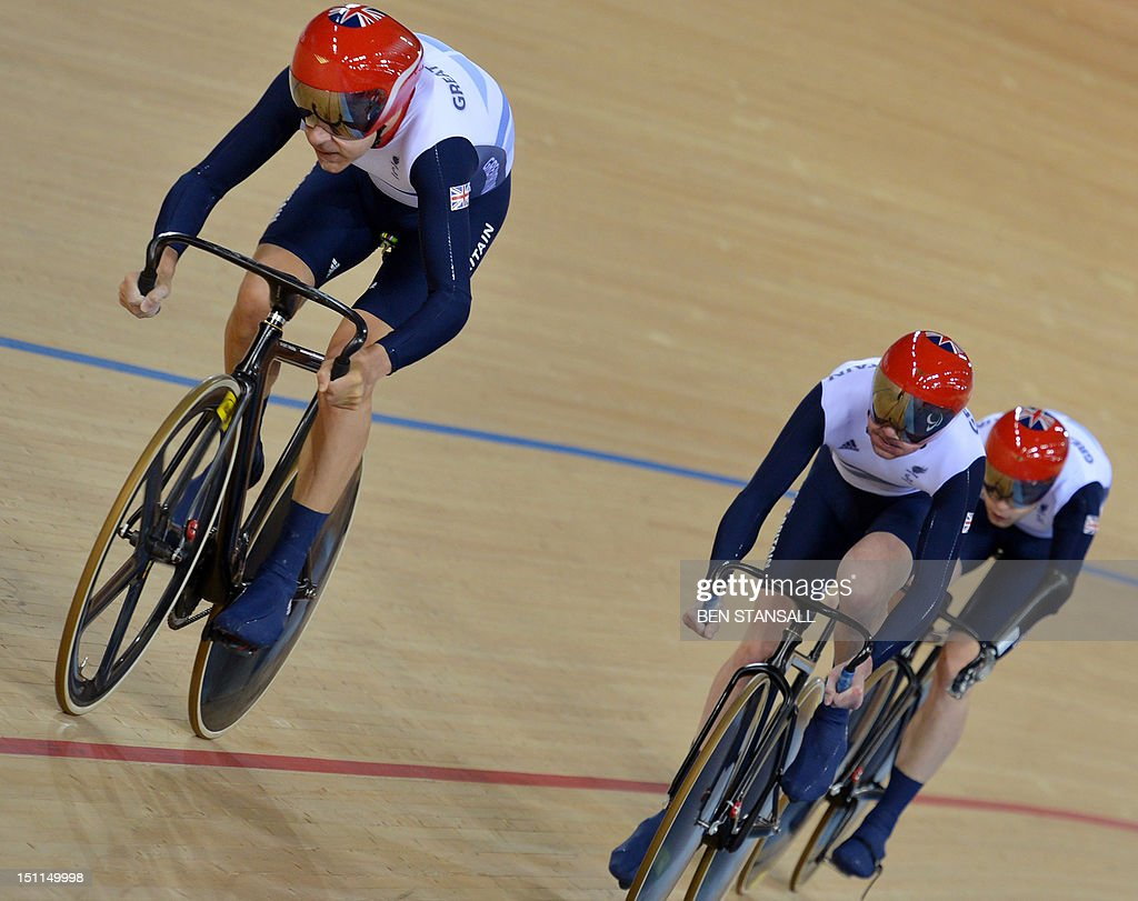 Great Briton's Darren Kenny Richard Waddon and JonAllan Butterworth compete during the Mixed C1 to 5 Cycling Team Sprint finals at the velodrome...