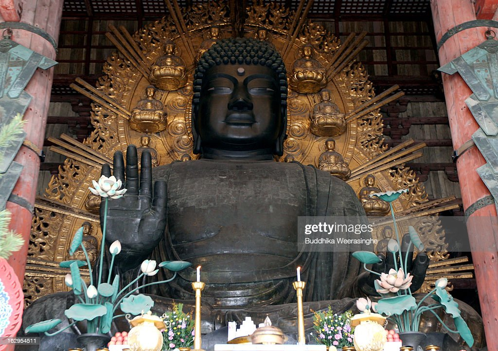 A Great Buddha statue located in the Daibutsuden (the temple's main hall) at Todaiji Temple on March 2, 2013 in Nara, Japan. The Buddhist Todaiji temple was built in 752 AD and is now one of seven sites in Nara to be listed as a UNESCO World Heritage Site.