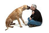 Great Dane Kissing Man