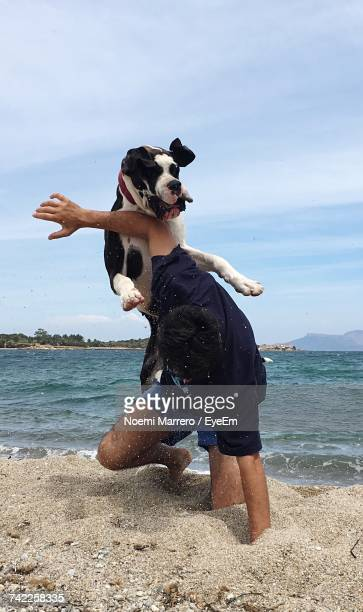 Great Dane Playing With Man On Shore At Beach Against Sky