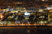 Aerial view of Great Dome of Massachussets Institute of Technology (MIT) at night, Cambridge, Massachusetts, USA