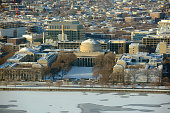Aerial view of Great Dome of Massachussets Institute of Technology (MIT) in winter, Cambridge, Massachusetts, USA