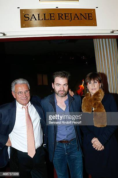 Great grandchildren of Rejane photographer JeanMarie Perier with his sister AnneMarie Perier and actor Clovis Cornillac attend the 'Salle Rejane'...