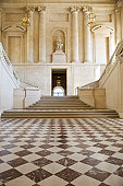 Luxury marble floor with a double staircase
