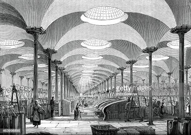 Great hall in Messrs Marshall's flax mill Leeds c1880 A print from Great Industries of Great Britain Volume I published by Cassell Petter and Galpin