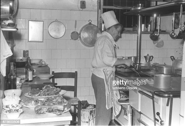 A great Italian chef cooking delicious food for 'Cucurucu Restaurant' Rome 1966
