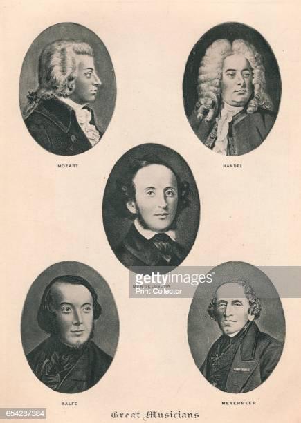 Great Musicians Plate IV 1895 Wolfgang Amadeus Mozart George Frideric Handel Felix Mendelssohn Michael William Balfe and Giacomo Meyerbeer From The...