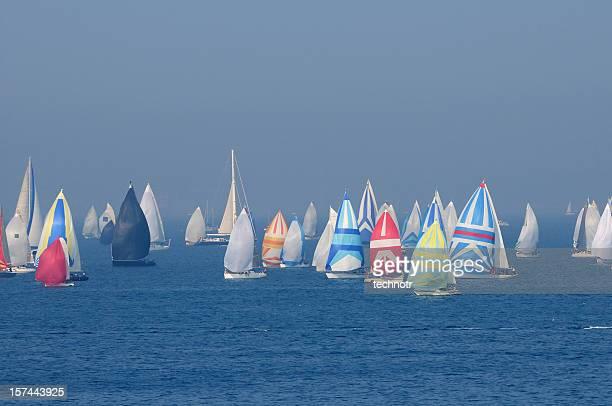 Große Anzahl von Segelboote Barcolana während der regatta
