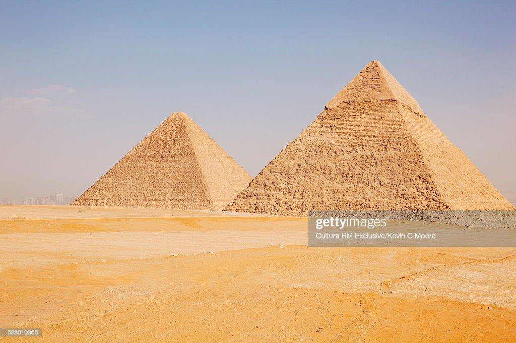 Great pyramid and pyramid of Khafre, Giza, Egypt