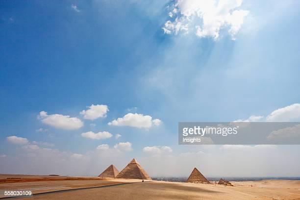 Great Pyramid Of Khufu Pyramid Of Khafre And Pyramid Of Menkaure Giza Al Jizah Egypt