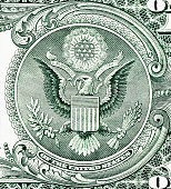 Close-up detail of the Great Seal of the United States as seen on the $1 bill.