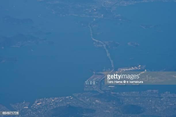 Great Seto Bridge (Seto Shashi Bridge), daytime aerial view from airplane