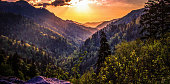 Beautiful sunset panorama over the horizon of the Great Smoky Mountains National Park in Gatlinburg, Tennessee.