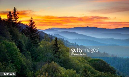 Great Smoky Mountains National Park Scenic Sunrise Landscape at Oconaluftee : Stock Photo