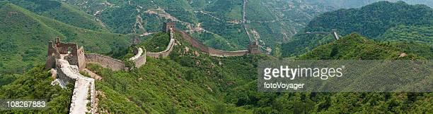 Great Wall of China unrestored section Jinshanling panorama