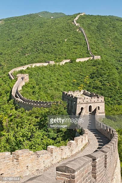 中国の万里の長城 watchtowers グリーン山脈