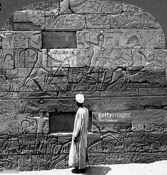 'Great war reliefs sculptured in the wall at Karnak Temple Thebes Egypt' 1905 'In three rows one above the other Sethos I the father of Ramses II has...