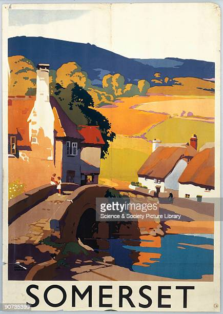 Great Western Railway poster showing a village in Somerset Artwork by Frank Newbould