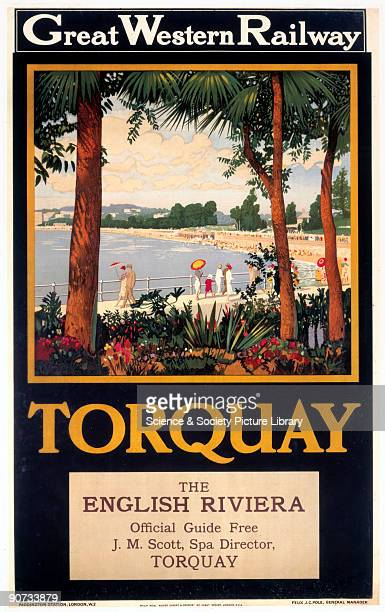Great Western Railway poster View of promenade and beach with gardens in foreground Torquay was promoted as the capital of the �English Riviera�