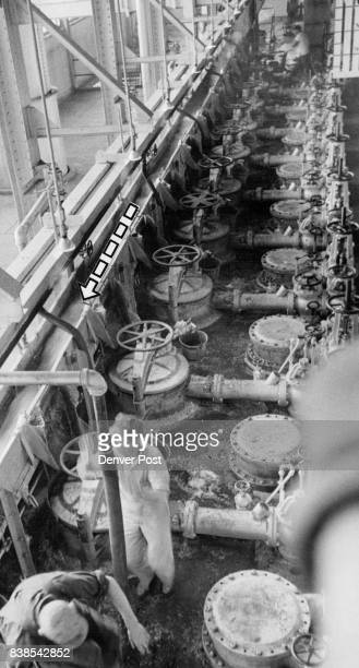 Great Western Sugar Co Sliced beets travel along diffusing line where they are diverted into the cooking vats below and juice extracted Credit Denver...