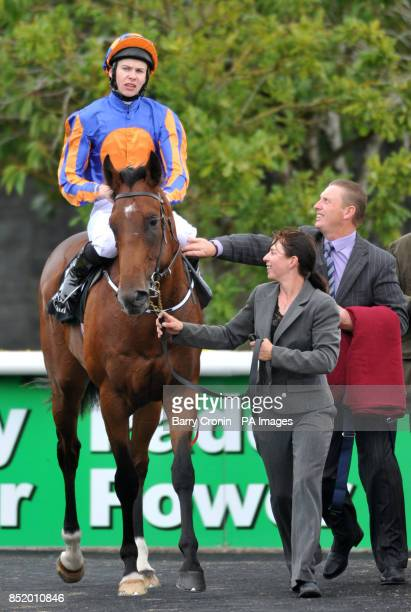 Great White Eagle ridden by Joseph O'Brien after winning The Go And Go Round Tower Stakes during the Moyglare Stud Stakes Day at the Curragh...