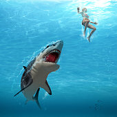 3D render of a great white shark attacking a female swimmer (with digital painting)