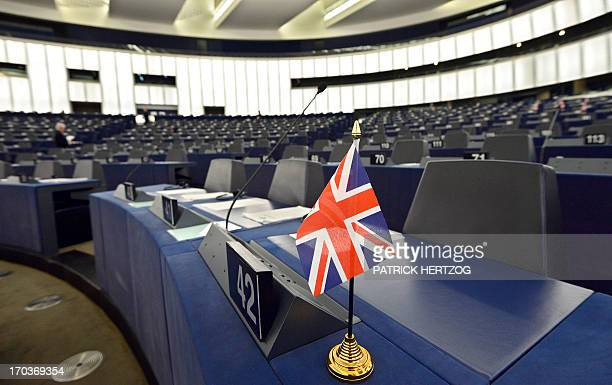 A GreatBritain delegation member's seat is pictured ahead of a a debate at the European Parliament in Strasbourg eastern France on June 12 2013 AFP...