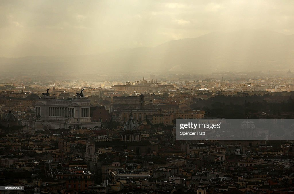 Greater Rome is viewed from the Cupola of Saint Peter's Basilica on March 11, 2013 in Vatican City, Vatican. Cardinals are set to enter the conclave to elect a successor to Pope Benedict XVI after he became the first pope in 600 years to resign from the role. The conclave is scheduled to start on March 12 inside the Sistine Chapel and will be attended by 115 cardinals as they vote to select the 266th Pope of the Catholic Church.