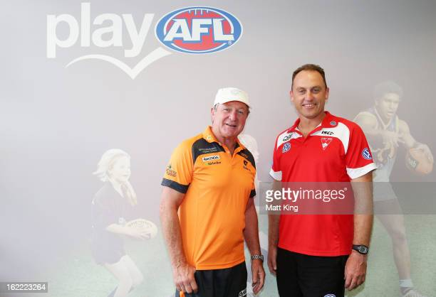 Greater Western Sydney coach Kevin Sheedy and Sydney Swans coach John Longmire pose ahead of their NAB Cup match at Moore Park on February 21 2013 in...