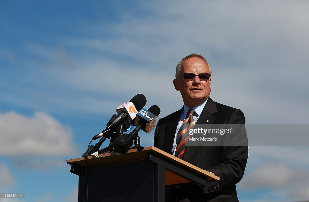 Greater Western Sydney Giants Chairman Tony Shepherd speaks to the media during a GWS Giants AFL media session at Sydney Olympic Park Sports Centre on May 6, 2013 in Sydney, Australia.