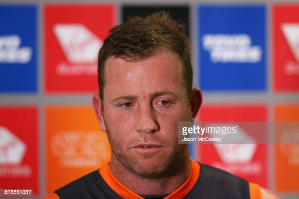 Greater Western Sydney Giants forward Steve Johnson speaks to the media at a press conference to announce his retirement from AFL football at...