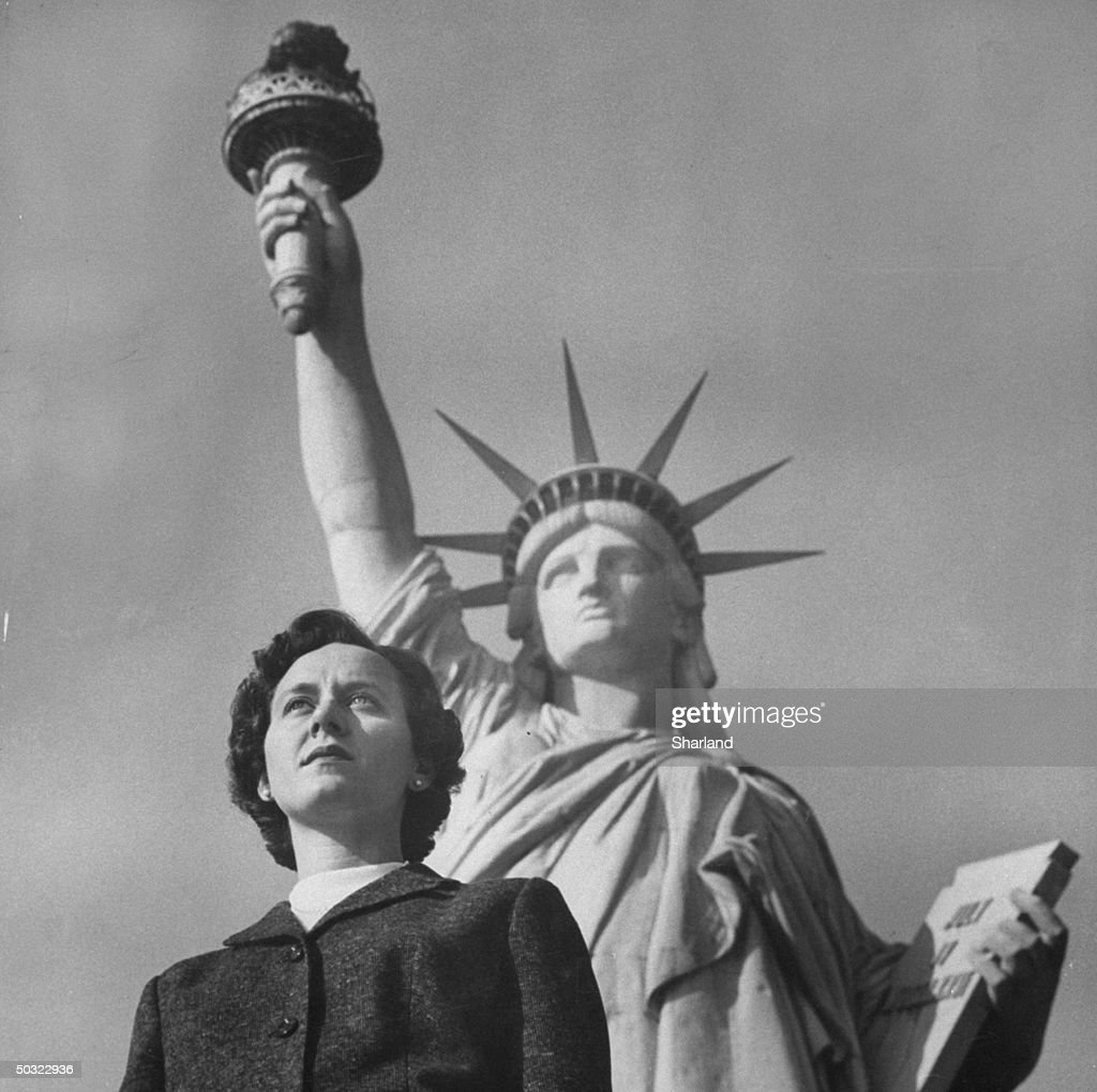 years since the dedication of the statue of liberty photos and great grand daughter of the sculptor of the statue of liberty mrs bartholdi standing