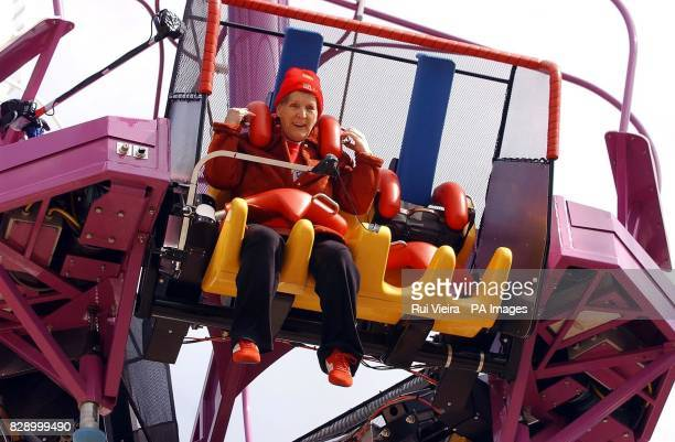 Greatgrandmother Mabel Swift MBE becomes the world's oldest test pilot as she is catapulted 300ft skywards in a reverse bungee jump at The Magical...