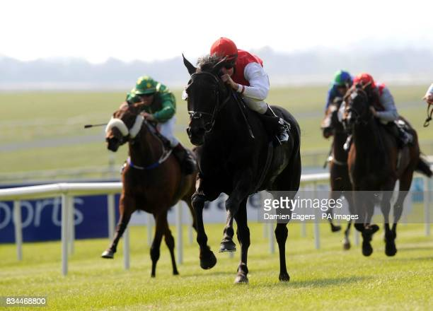 Grecian Dancer ridden by Fran Berry on their way to winning the Ridgewood Pearl Stakes at Curragh Racecourse Co Kildare Ireland