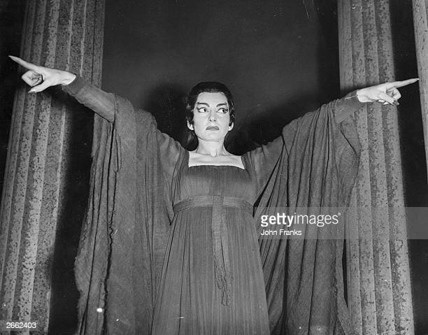 GrecoAmerican operatic soprano star Maria Callas rehearsing for her title role in 'Medea' at Covent Garden London Original Publication People Disc...