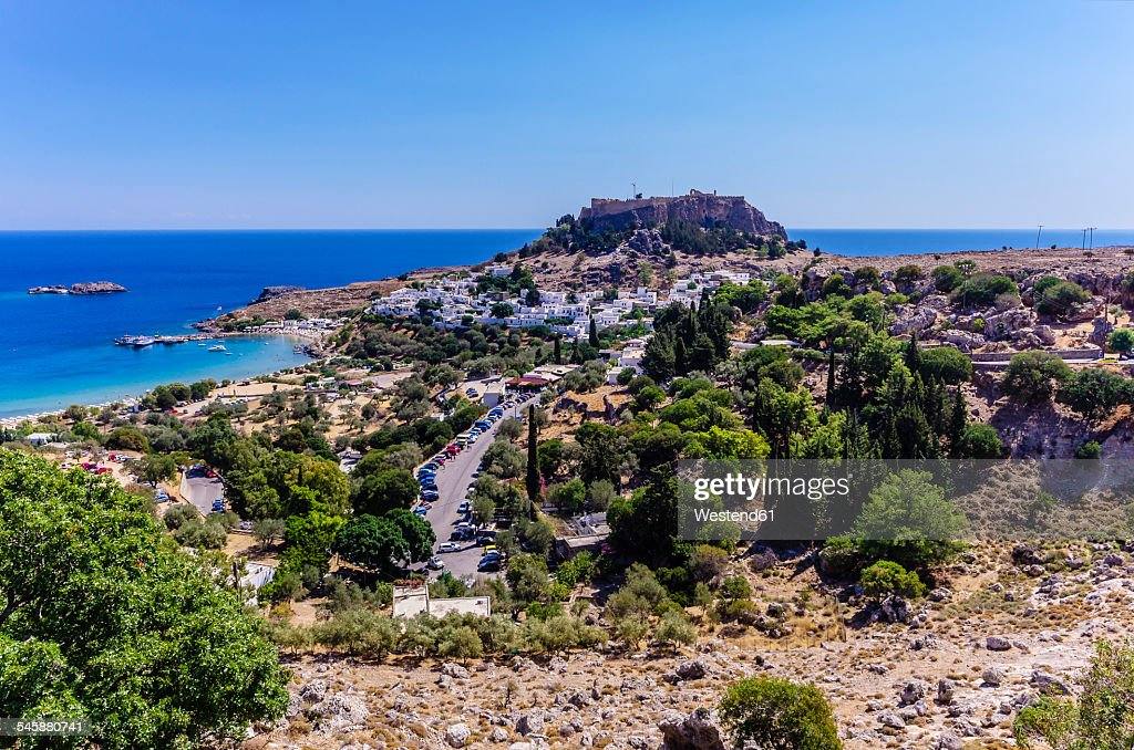 Greece, Aegean Islands, Rhodes, View to Acropolis