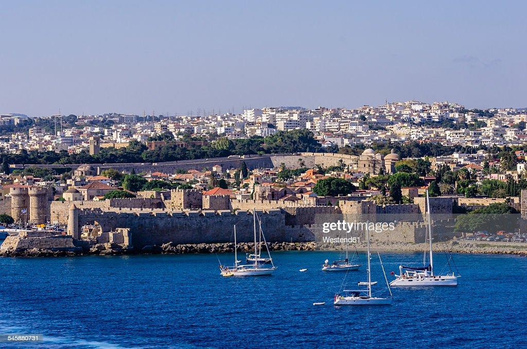 Greece, Aegean Islands, Rhodes, View to port entrance