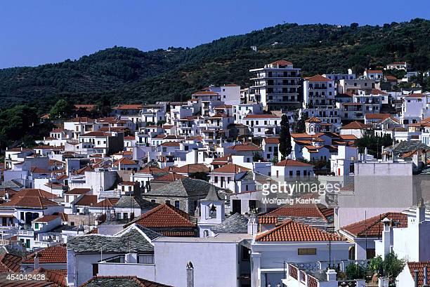 Greece Aegean Sea Skopelos Overview Of Village