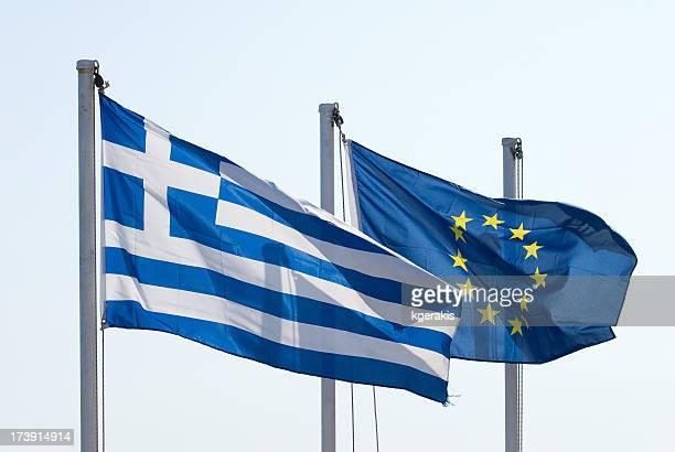 Griechenland und Europäische Union Flaggen