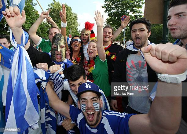 Greece and Germany fans are seen prior to the UEFA Euro 2012 quarter final match between Germany and Greece at a public viewing zone called 'fan...