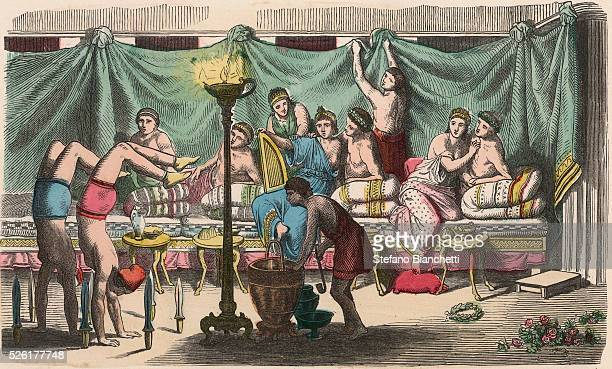 Banquet and gymnastics Coloured engraving by Heinrich Leutemann Bilder aus dem Altertume 1866