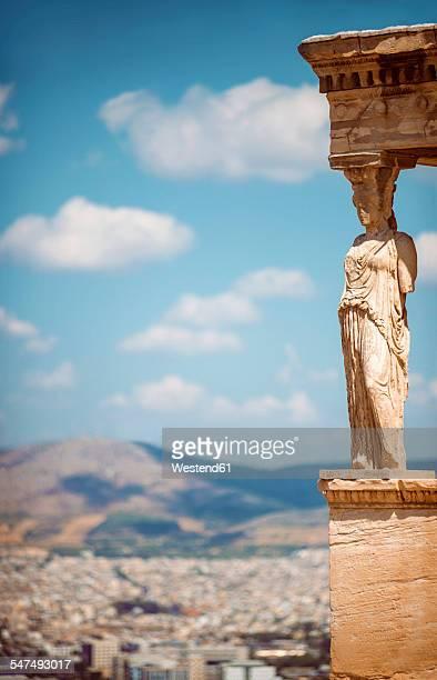 Greece, Athens, caryatide at sunlight