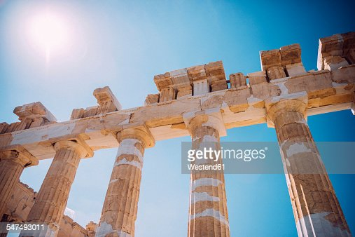 Greece, Athens, columns of Parthenon temple