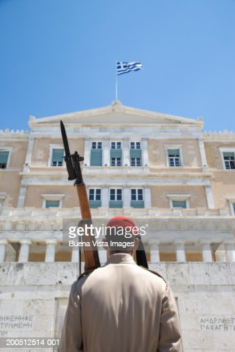 Greece, Athens, Parliament, honor guard at Tomb of Unknown Soldier
