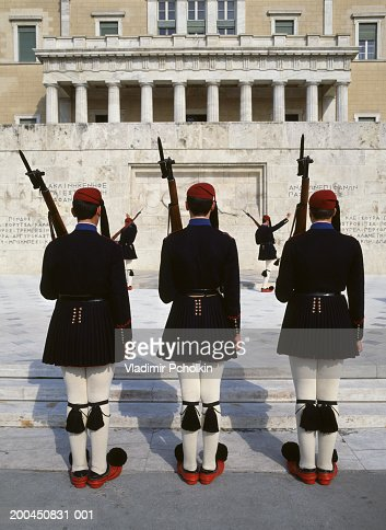 Greece, Athens, Parliment, Evzone Guards, outdoors : Stock Photo