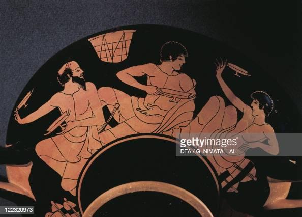 Greece Athens Redfigure kylix depicting a banquet scene