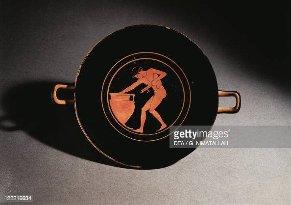Greece Athens Redfigure kylix depicting a young man taking wine from a krater